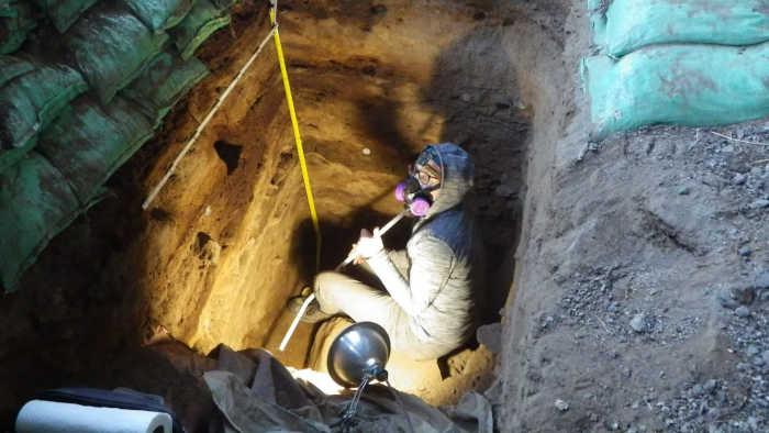 Археолог Лиза-Мари Шиллито собирает образцы в пещере