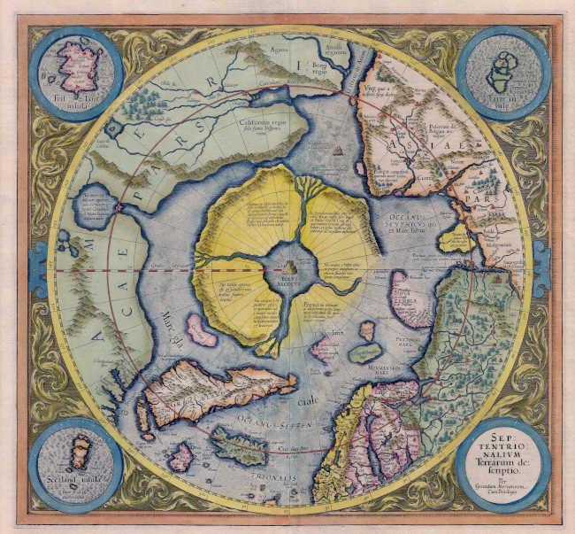 Арктический континент на карте Герарда Меркатора 1595 года