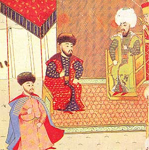 Менгли I Герай (в центре) со своим сыном и наследником Мехмедом Гераем (слева) и османским султаном Баязидом II (справа)